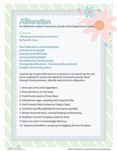 Alliteration For Kids  Worksheet Educationcom