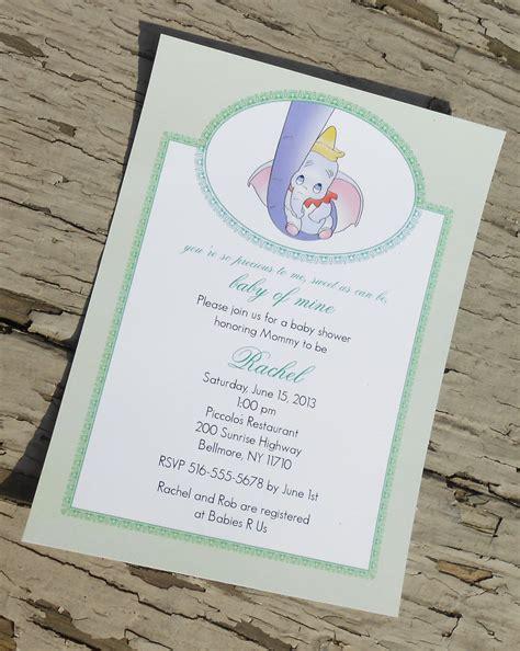 Dumbo Baby Shower - disney s dumbo baby shower invitation custom printable