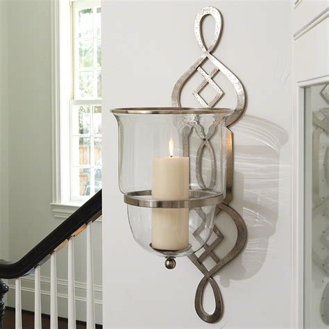wall sconce ideas looking silver finish iron motive hurricane wall sconce bowl shaped