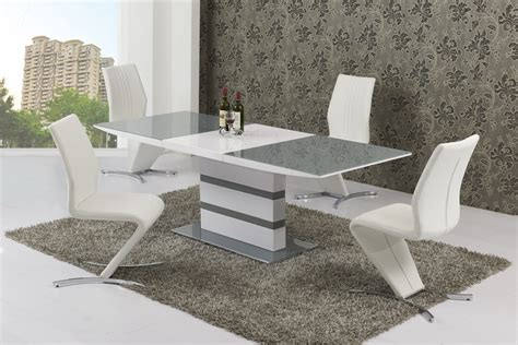 large extending  seater gloss grey glass dining table