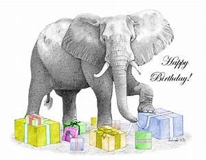 Happy Birthday Elephant Drawing by Selinda Van Horn