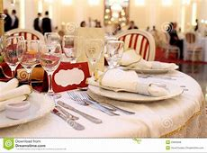 Banquet table setting stock photo Image of places