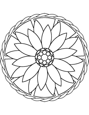 paper flower bouquet simple mandala with flower coloring page free printable