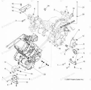 Polaris Side By Side 2010 Oem Parts Diagram For Engine  Transmission Mounting