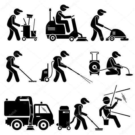 entreprise de nettoyage bureaux travail avec outils et équipement stick figure pictogramme