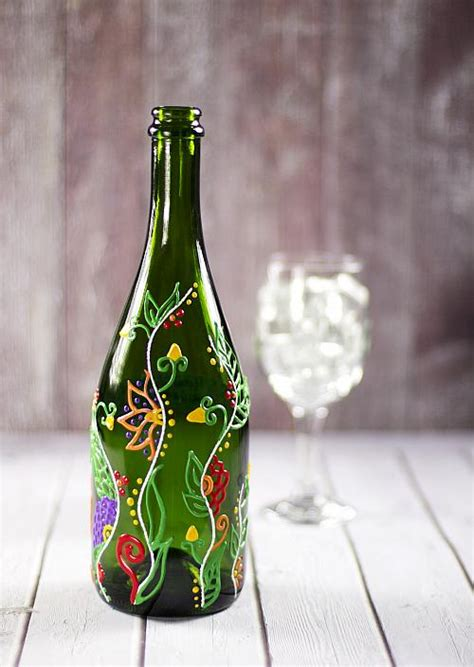 floral vine design upcycled wine bottle project  decoart