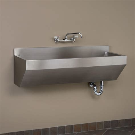 stainless wall mount sink 47 quot stainless steel wall mount commercial sink angled