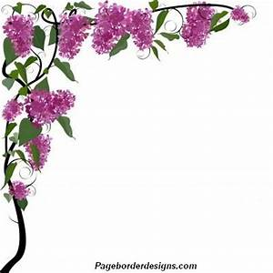 Purple Beautiful Corner Page Borders Design with Green ...