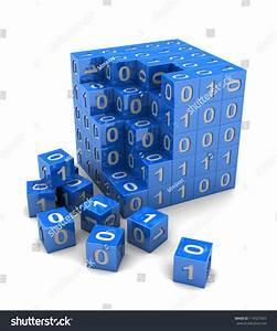 Binary Code On Digital Blue Cube, 3d Image Stock Photo ...