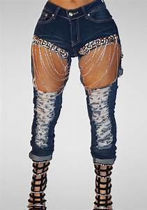 Blue Hole Cut Out Sliver Chain High Waisted Pencil Ripped Jeans - Jeans - Bottoms
