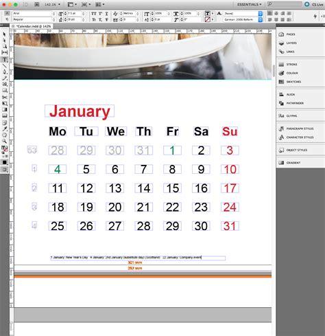 indesign calendar template corporate calendar in indesign incl template 187 saxoprint