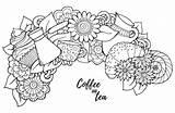 Coloring Tea Coffee Cup Cupcake Pot Koffie Volwassenen Cezve Adults Colorear Kleurplaten Flowers Patroon Kleurplaat Thee Croissant Bloemen Snoep Dulces sketch template