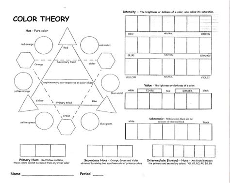 color theory worksheet color wheel worksheet for elementary search
