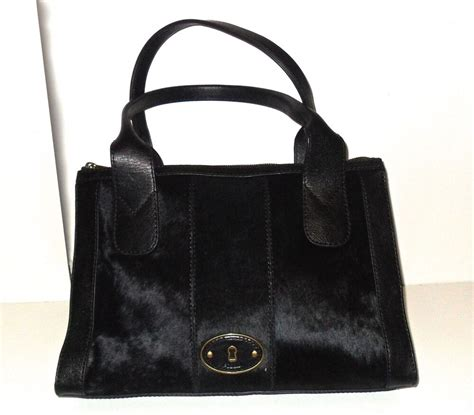 Cowhide Purses - fossil black vintage re issue leather cowhide calf hair