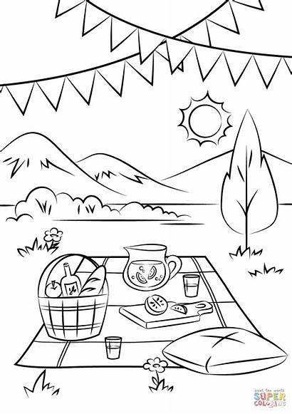 Picnic Coloring Clipart Drawing Sketch Scene Printable