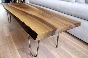 sold live edge solid walnut coffee table on hairpin legs With live edge coffee table hairpin legs
