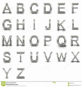3d rendering of silver alphabet stock photography image With silver alphabet letters