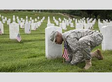 Memorial Day Soldiers Placing Flags at Arlington Reflect