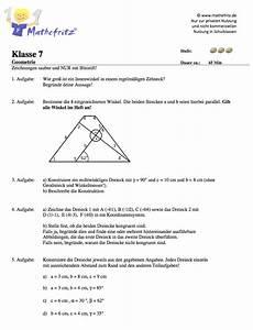 Winkel Berechnen übungen 7 Klasse : geometrie klassenarbeit klasse 7 dreiecke ssw sws wsw winkel ~ Themetempest.com Abrechnung