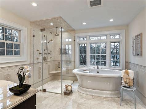 traditional master bathroom  freestanding bathtub
