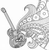 Guitar Adult Coloring Doodles sketch template