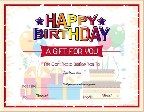birthday gift certificate sample templates  word