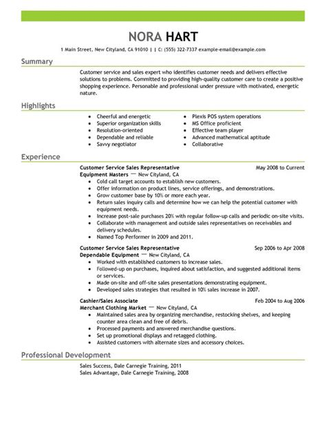 Great Resume Sles For Customer Service by Customer Service Representatives Resume Sle My Resume