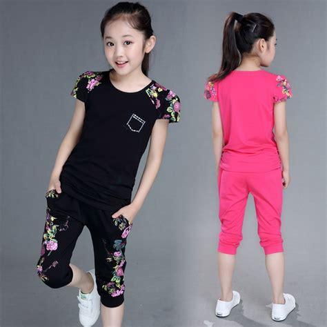 2019 meiteņu apģērbu komplekti vasaras bērnu sporta tērps ...