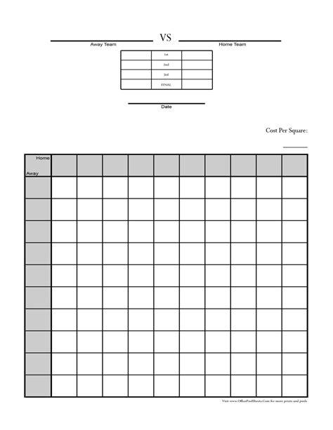 Free Bowl Pool Templates by 2015 Blank Football Square Bowl New Calendar