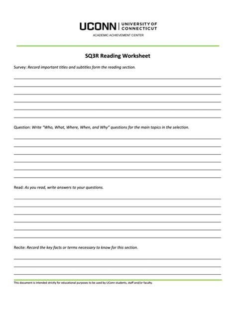sq3r reading worksheet printable pdf