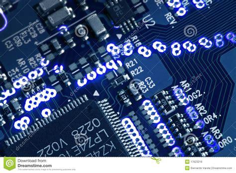 Blue Glowing Circuit Board Stock Photo Image Electron