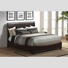 Modern Sleigh Bed In Cappuccino Finish