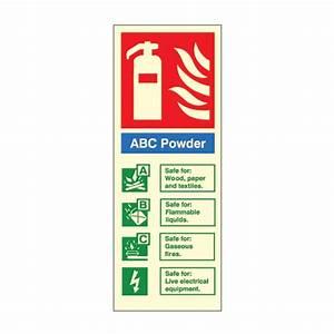 Photoluminescent - ABC Powder Fire Extinguisher ID Signs ...