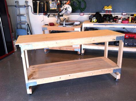 diy workbench retractable casters  woodworking