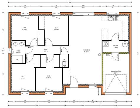 maison 4 chambres plan maison plain pied 4 chambres ventana