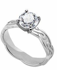 palladium 4 mm celtic inspired engagement ring With scottish inspired wedding rings