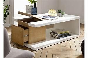Table Basse Blanc Bois : table basse blanc laqu bois ch ne ~ Teatrodelosmanantiales.com Idées de Décoration