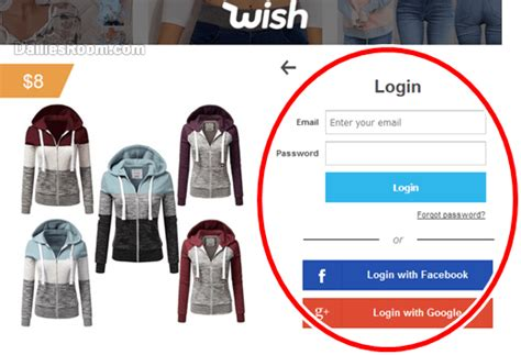 shopping sign   login  email facebook