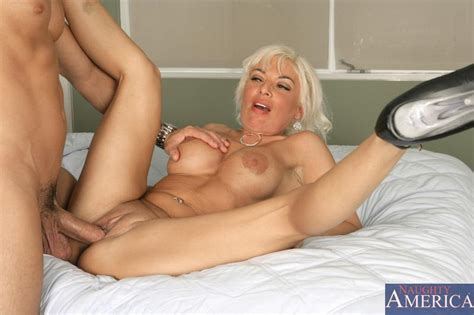 Slutty blonde milf BB Gun chokes with guy's excited piston and takes it deep inside her beaver