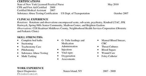 entry level lpn resume sle nursing