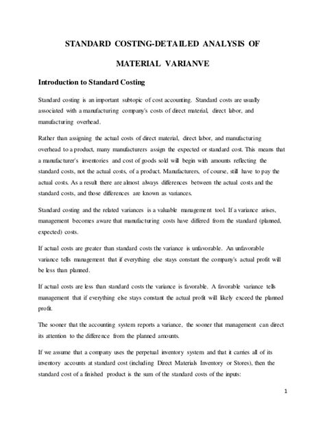 STANDARD COSTING-DETAILED ANALYSIS OF MATERIAL VARIANCE