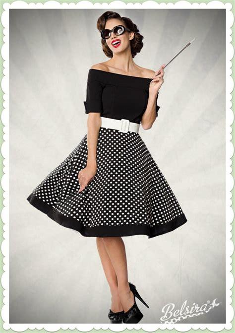 kleider 50 jahre belsira 50er jahre rockabilly petticoat kleid polka dots schwarz wei 223