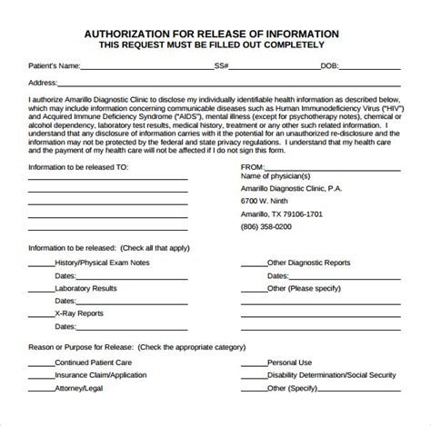 release of information form 9 release of information form for free sle