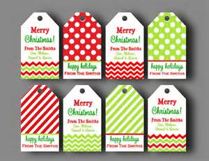 personalized christmas gift tags printable or printed with free shipping chevron polka dot
