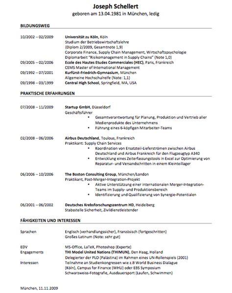Bewerbung Lebenslauf Muster by Lebenslauf Exemplar Lebenslauf Beispiel