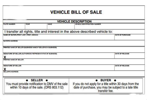 example of bill of sale sample vehicle bill of sale form 8 download free