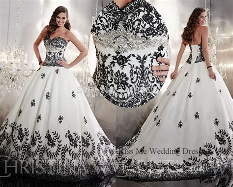 Embellished White And Black Wedding Dress 2015 Princess