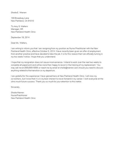 nurse practitioner resignation letter templates