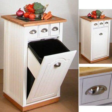 meuble en bois 3 en 1 range cache poubelle plan de