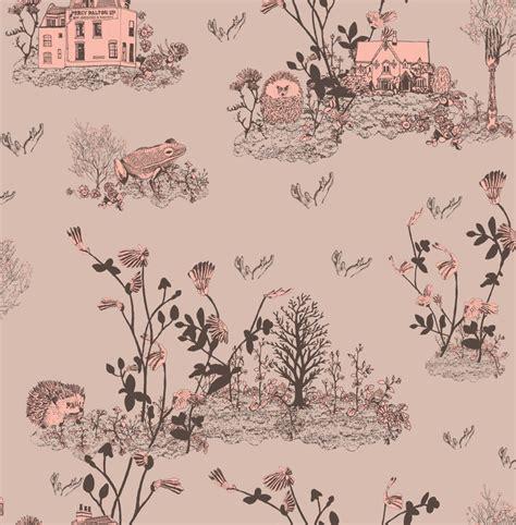childrens woodlands wallpaper pink white rabbit england